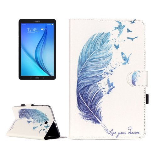 For Galaxy Tab E 9.6 Feather Pattern Flip Leather Case with Holder, Card Slots & Wallet