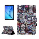 For Galaxy Tab E 9.6 Skull Pattern Flip Leather Case with Holder, Card Slots & Wallet