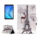 For Galaxy Tab E 9.6 Tower Pattern Flip Leather Case with Holder, Card Slots & Wallet