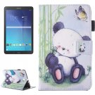 For Galaxy Tab E 9.6 Panda Pattern Flip Leather Case with Holder, Card/Pen Slots