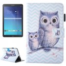 For Galaxy Tab E 9.6 Wave Owl Pattern Flip Leather Case with Holder, Card/Pen Slots