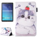 For Galaxy Tab E 9.6 Tomato Cat Pattern Flip Leather Case with Holder, Card/Pen Slots