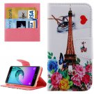For Galaxy A5(2016) Eiffel Tower Leather Case with Holder, Card Slots & Wallet