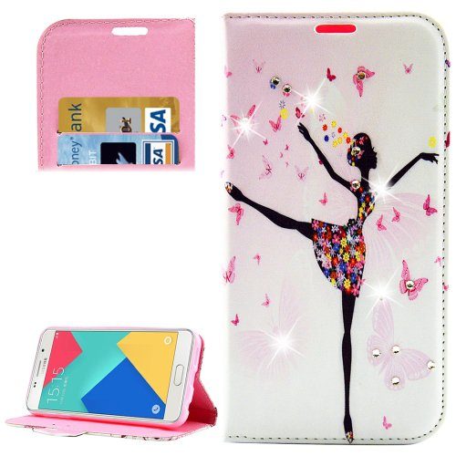 For Galaxy A5(2016) Girl 2 Diamond Leather Case with Holder, Card Slots & Wallet