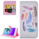 For Galaxy A5(2016) Feathers Pattern Leather Case with Holder, Card Slots & Wallet