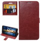 For Galaxy A5(2016) Brown Lambskin Leather Case with Holder, Card Slots & Lanyard