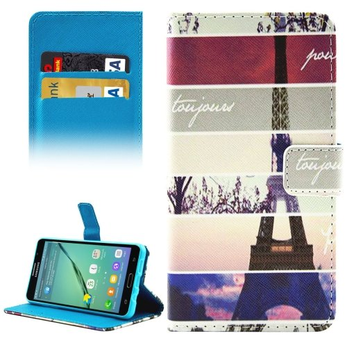 For Galaxy A5(2016) Eiffel Tower Pattern Leather Case with Holder, Card Slots & Wallet