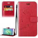 For Galaxy A5(2016) Red Crazy Horse Printing Leather Case with Holder, Card Slots & Wallet