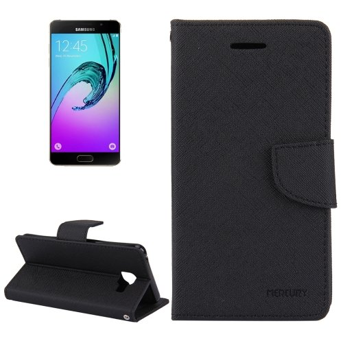 For Galaxy A5(2016) Black Cross Magnetic Leather Case with Holder, Card Slots & Wallet