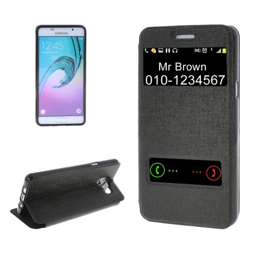 For Galaxy A5(2016) Black Oracle TPU + PU Leather Case with Caller ID Window & Holder