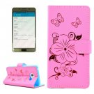 For Galaxy A5(2016) Pink Butterfly Leather Case with Holder, Card Slots & Wallet