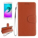 For Galaxy A5(2016) Brown Litchi Leather Case with Holder, Card Slots, Wallet & Photo frame