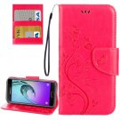 For Galaxy A5(2017) Magenta Embossing Leather Case with Holder, Card Slots & Wallet