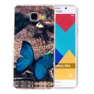 For Galaxy A5(2016) Blue Butterfly Pattern Blu-ray Soft TPU Protective Case