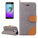 For Galaxy A5(2017) Grey Denim Flip Leather Case with Holder & Card Slots