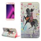 For Galaxy A5(2017) Horse Girl Flip Leather Case with Holder, Card Slots & Wallet