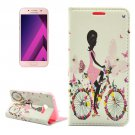 For Galaxy A5(2017) Cycling Girl Leather Case with Holder, Card Slots & Wallet