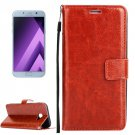 For Galaxy A5(2017) Brown Crazy Horse Leather Case with Holder, Card Slots & Wallet