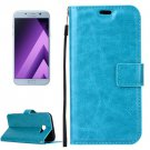 For Galaxy A5(2017) Blue Crazy Horse Leather Case with Holder, Card Slots & Wallet