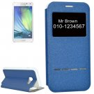 For Galaxy A5(2017) Dark Blue Frosted Texture Flip Leather Case with Call Display ID & Holder