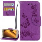 For Galaxy A5(2017) Purple Embossing Leather Case with Holder, Card Slots & Wallet