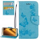 For Galaxy A5(2017) Blue Embossing Leather Case with Holder, Card Slots & Wallet