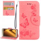 For Galaxy A5(2017) Pink Embossing Leather Case with Holder, Card Slots & Wallet