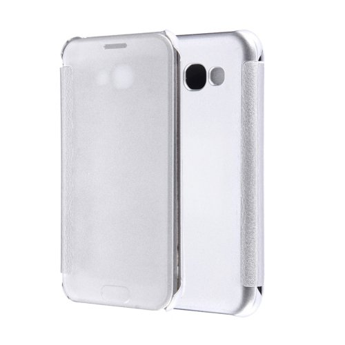 For Galaxy A5(2017) Silver Flip Leather Case with Sleep / Wake-up Function