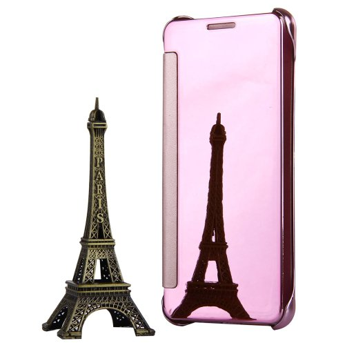 For Galaxy A5(2017) Plating Mirror Pink Leather Case with Sleep / Wake-up Function