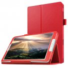For Galaxy Tab E 8.0 Red Litchi Texture Flip Solid Color Leather Case with Holder