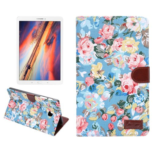 For Galaxy Tab E 8.0 Blue Cloth Texture Smart cover Case with Holder, Card Slot & Wallet