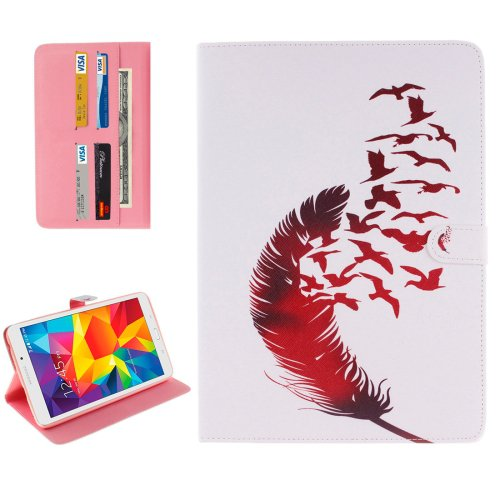 For Galaxy Tab E 8.0 Feather Pattern Flip Leather Case with Holder & Card Slots & Wallet