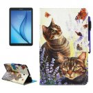 For Galaxy Tab E 8.0 Cats Smart Cover Leather Case with Holder & Card Slots & Wallet