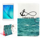 For Galaxy Tab A 9.7 Anchor Pattern Flip Leather Case with Holder, Card Slots & Wallet