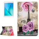 For Galaxy Tab A 9.7 Rose Tower Pattern Horizontal Flip Leather Case with Holder