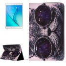 For Galaxy Tab A 9.7 Glasses Cat Pattern Horizontal Flip Leather Case with Holder