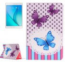 For Galaxy Tab A 9.7 Butterflies Pattern Horizontal Flip Leather Case with Holder