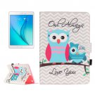 For Galaxy Tab A 9.7 Owls Pattern Flip Leather Case with Holder, Card Slots & Wallet