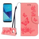 For Galaxy S8 Pink Butterflies Flip Leather Case with Holder, Card Slots & Wallet