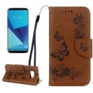 For Galaxy S8 Brown Butterflies Flip Leather Case with Holder, Card Slots & Wallet