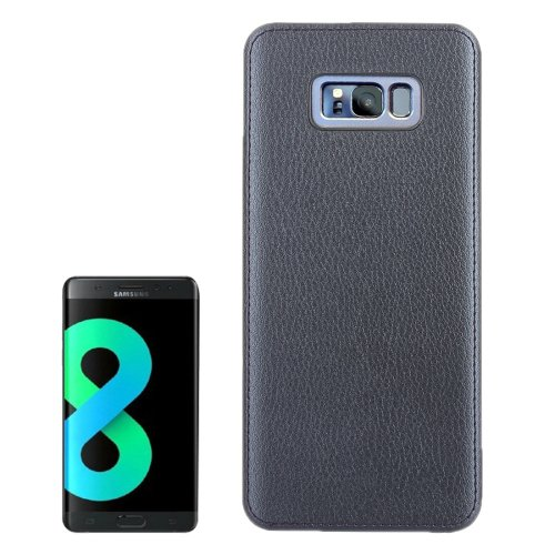 For Galaxy S8 Dark Blue Litchi Texture Paste Skin PU Leather + PC Case