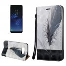 For Galaxy S8 3D Feather Magnetic Adsorption Leather Case with Holder & Card Slots