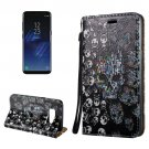 For Galaxy S8 3D Skull Magnetic Adsorption Leather Case with Holder & Card Slots