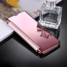 For Galaxy S8+ Pink Electroplating Mirror Smart Cover Flip Leather Case