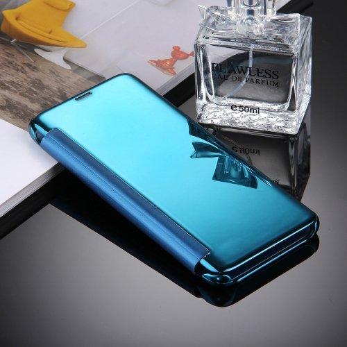 For Galaxy S8+ Blue Electroplating Mirror Smart Cover Flip Leather Case