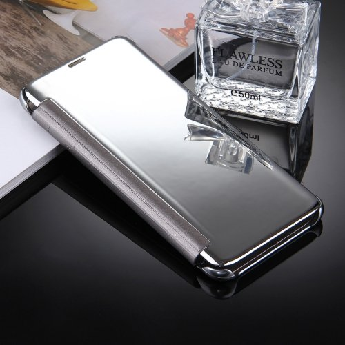 For Galaxy S8+ Silver Electroplating Mirror Smart Cover Flip Leather Case
