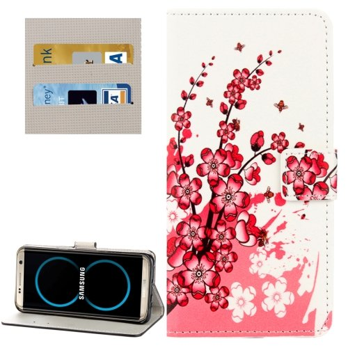 For Galaxy S8+ Blossom Pattern Flip Leather Case with Holder, Card Slots & Wallet