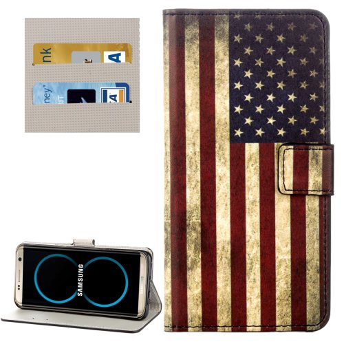 For Galaxy S8+ USA Flag Pattern Flip Leather Case with Holder, Card Slots & Wallet