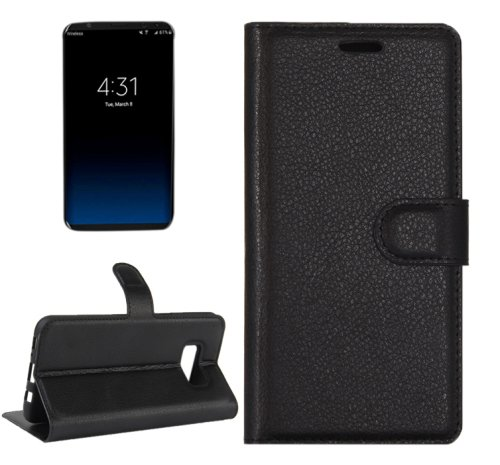 For Galaxy S8+ Black Litchi Magnetic Leather Case with Holder, Card Slots & Wallet