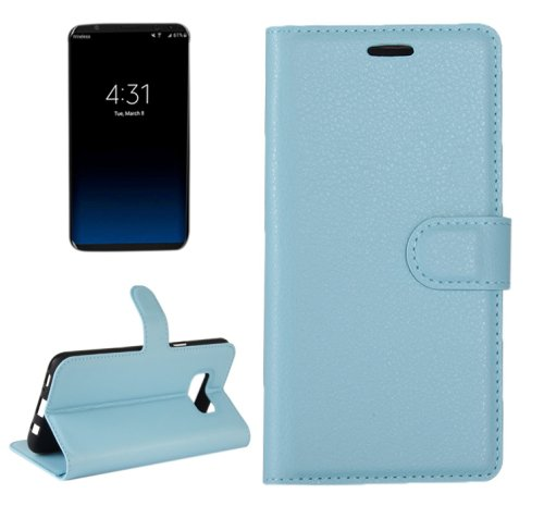 For Galaxy S8+ Blue Litchi Magnetic Leather Case with Holder, Card Slots & Wallet